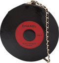 """Luxury Accessories:Bags, Chanel Black Patent Leather & Red Lambskin Leather Vinyl Record Bag with Gold Hardware. Condition: 1. 7"""" Diameter x .7..."""