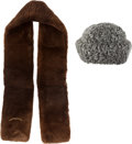 """Luxury Accessories:Accessories, Chanel Set of Two: Brown Lamb Fur Scarf & Grey Woven Lamb Fur Hat. Condition: 2. 46"""" Length x 4"""" Width. 23"""" Circum... (Total: 2 Items)"""