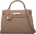 """Luxury Accessories:Bags, Hermes 32cm Etoupe Togo Leather Retourne Kelly Bag with Palladium Hardware . Q Square, 2013. Condition: 1. 12.5"""" W..."""
