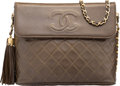 """Luxury Accessories:Bags, Chanel Olive Green Quilted Lambskin Leather Shoulder Bag with GoldHardware. Condition: 3. 10"""" Width x 8"""" Height x3""""D..."""