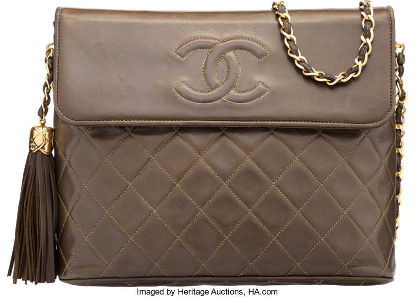 5db2dbd93f0f Chanel Olive Green Quilted Lambskin Leather Shoulder Bag with