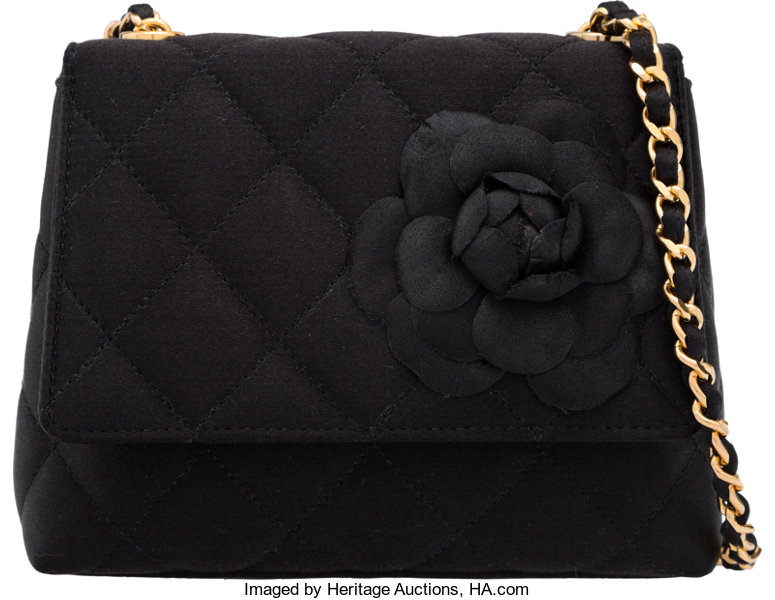 b1d6db0be469 Chanel Black Quilted Satin Camellia Single Flap Evening Bag
