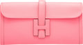 """Luxury Accessories:Bags, Hermes Rose Azalee Swift Leather Jige Elan Clutch Bag. A, 2017. Condition: 1. 11.5"""" Width x 6"""" Height x 1"""" Depth..."""