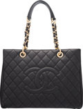 """Luxury Accessories:Bags, Chanel Black Quilted Caviar Leather GST Grand Shopping Tote Bag with Gold Hardware. Condition: 1. 13"""" Width x 10"""" Heig..."""