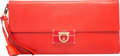 "Luxury Accessories:Accessories, Salvatore Ferragamo Red Napa Leather Afef Lock Story Wristlet Clutch Bag. Condition: 2. 14"" Width x 7"" Height x 1"" Dep..."