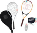 """Luxury Accessories:Accessories, Chanel Set of Eight: Two Tennis Racquets & Six Tennis Balls. Condition: 2. 11"""" Width x 26.5"""" Height x 1"""" Depth. 2.... (Total: 8 Items)"""