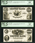 Obsoletes By State:Massachusetts, Conway, MA- Conway Bank $50; $100 Sep. 12, 1854 as G14; as G16Proofs. ... (Total: 2 notes)