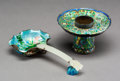 Asian:China Trade, A Chinese Enameled Cup Stand and Ladle. 7-1/4 inches (18.4 cm)(longest, ladle). ... (Total: 2 Items)
