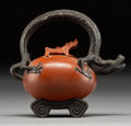 Asian:Chinese, A Diminutive Chinese Yixing Pottery Teapot with Dragon Handle.4-5/8 x 5 x 2 inches (11.7 x 12.7 x 5.1 cm). ...