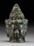 Asian:Chinese, A Southeast Asian Bronze Tri-Faced Figurehead. 4-3/4 inches (12.1cm). ...