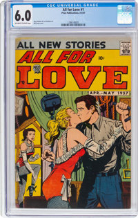 All For Love #1 (Prize, 1957) CGC FN 6.0 Off-white to white pages