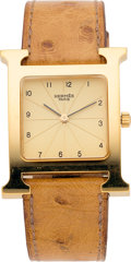 """Luxury Accessories:Accessories, Hermes Gold-Plated Stainless Steel Heure H Quartz Movement Watch GM. F Square, 2002. Condition: 3. 1.2"""" Width x 8...."""