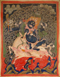 Asian:Chinese, A Tibetan Thangka Depicting Palden Lhamo, 18th-19th century. 32inches high x 18-1/4 inches wide (81.3 x 46.4 cm) (textile, ...
