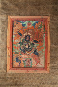 Asian:Chinese, A Tibetan Thangka Depicting Black Mahakala and Buddhist Deities. 65inches high x 39 inches wide (165.1 x 99.1 cm) (textile,...