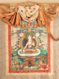 Asian:Chinese, A Tibetan Thangka Depicting Seated White Tara, 19th century. 50inches high x 30-1/2 inches wide (127 x 77.5 cm) (textile). ...