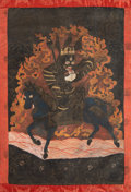 Asian:Chinese, A Mongolian Thangka Depicting Shri Devi, 18th-19th century. 43inches high x 24-1/2 inches wide (109.2 x 62.2 cm) (textile, ...
