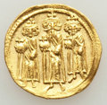Ancients:Byzantine, Ancients: Heraclius (AD 610-641), with Heraclius Constantine andHeraclonas. AV solidus (20mm, 4.38 gm, 7h). AU, clipped, edgebump....