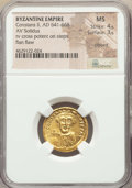 Ancients:Byzantine, Ancients: Constans II Pogonatus (AD 641-668). AV solidus (20mm,6h). NGC MS 4/5 - 3/5, clipped, flan flaw....