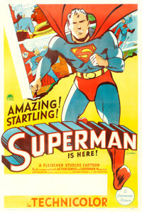 "Superman Cartoon (Paramount, 1941). Stock One Sheet (27"" X 41"")"