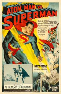 "Atom Man vs. Superman (Columbia, 1950). Autographed One Sheet (27"" X 41"") Chapter 7 --""At the Mercy of At..."