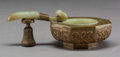 Asian:Chinese, A Chinese Gilt Bronze and Carved Jade Ritual Ladle. 1-7/8 x 5-1/4 x3 inches (4.8 x 13.3 x 7.6 cm). ...