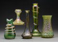 Decorative Arts, Continental:Other , A Group of Five Austrian Glass Vases, circa 1900