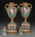 Decorative Arts, Continental:Other , A Pair of Continental Royal Vienna-Style Enameled and GiltPorcelain Covered Urns, 20th century . Marks: (crown over shield... (Total: 2 Items)