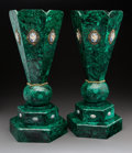 Decorative Arts, French:Other , A Pair of Malachite-Veneered Hexagonal Vases with Mounted Cabochonsand Jasperware Medallions. 21-1/2 x 10 x 9 inches (54.6 ... (Total:2 Items)