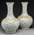 Asian:Chinese, A Pair of Chinese Enameled Famille Rose Porcelain Bottle Vases withHundred Bats Motif