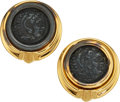 Estate Jewelry:Earrings, Ancient Coin, Gold Earrings, Bvlgari. ...