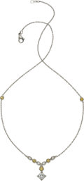 Estate Jewelry:Necklaces, Diamond, Yellow Sapphire, Platinum Necklace. ...