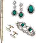Estate Jewelry:Lots, Diamond, Synthetic Emerald, White Gold, Silver Jewelry. ... (Total:5 Items)