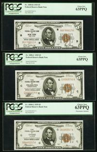 Fr. 1850-B; C; G $5 1929 Federal Reserve Bank Notes. PCGS Choice New 63PPQ
