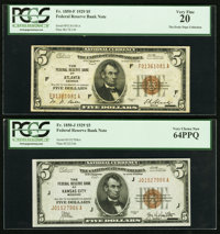 Fr. 1850-F $5 1929 Federal Reserve Bank Note. PCGS Very Fine 20; Fr. 1850-J $5 1929 Federal Reserve Bank Note