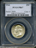 Proof Washington Quarters: , 1941 25C PR67 PCGS. This luscious Superb Gem has a razor-sharpstrike, impeccably preserved surfaces, and a small degree of...