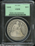 Seated Dollars: , 1848 S$1 VG8 PCGS. The L and Y in LIBERTY is clear, and the tops ofRT in LIBERTY are visible. Some drapery and plumage det...