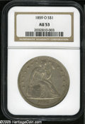 Seated Dollars: , 1859-O S$1 AU53 NGC. A dusky steel-gray example that is sharplydetailed except for slight weakness of strike on the head o...