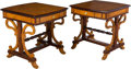 Furniture , A Pair of Biedermeier-Style Trestle Side Tables. 32 x 32-1/2 x 30 inches (81.3 x 82.6 x 76.2 cm) (each). ... (Total: 2 Items)