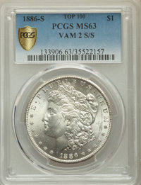 1886-S/S $1 VAM-2, Top 100, MS63 PCGS Secure. PCGS Population: (40/50 and 1/4+). NGC Census: (45/22 and 0/0+). MS63...