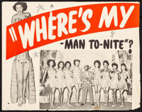 "Marching On! (Astor Pictures, R-1944). Lobby Card (11"" X 14"") Reissue Title: Where's My Man To-Nite? Black Fil..."