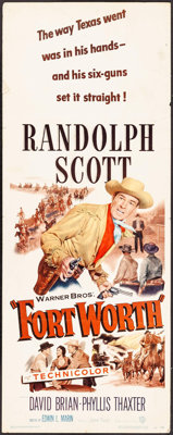 """Fort Worth & Other Lot (Warner Brothers, 1951). Folded, Fine/Very Fine. Insert (14"""" X 36"""") & H..."""