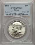 Kennedy Half Dollars, 1976-S 50C SILVER MS68 PCGS. PCGS Population: (478/1). NGC Census: (24/0). Mintage 11,000,000. ...