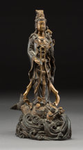 Asian:Chinese, A Chinese Patinated Bronze Guanyin Figure. 13-1/4 x 7-1/2 x 3-1/2inches (33.7 x 19.1 x 8.9 cm). ...