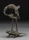Asian:Chinese, A Chinese Bronze Crane and Dragon Turtle Figural Group. 7-7/8 x 6 x3-1/2 inches (20.0 x 15.2 x 8.9 cm). ...