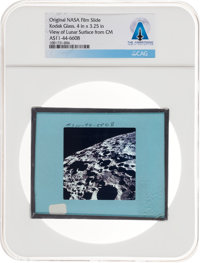 Apollo 11 Original NASA Glass Slide, an Image of the Moon's Rough Far Side, Directly From The Armstrong Family Col