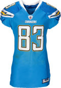 Football Collectibles:Uniforms, 2011 Vincent Jackson Game Worn & Unwashed San Diego Chargers Jersey - Photo Matched to 12/18 vs. Ravens. ...