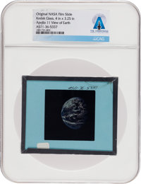 Apollo 11 Original NASA Glass Slide, an Image of Earth, Directly From The Armstrong Family Collection™, Certified