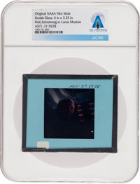 Apollo 11 Original NASA Glass Slide, an Image of Neil Armstrong inside the LM, Directly From The Armstrong Family