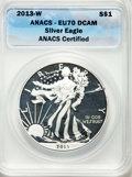 2013-W $1 Enhanced Finish Silver Eagle, West Point Mint, SP70 Deep Cameo ANACS. This lot will also include a: 2013-W $1...