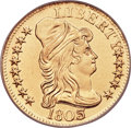 Early Half Eagles, 1803/2 $5 BD-4, R.4 -- Mount Removed, Improperly Cleaned -- NCS. AU Details....